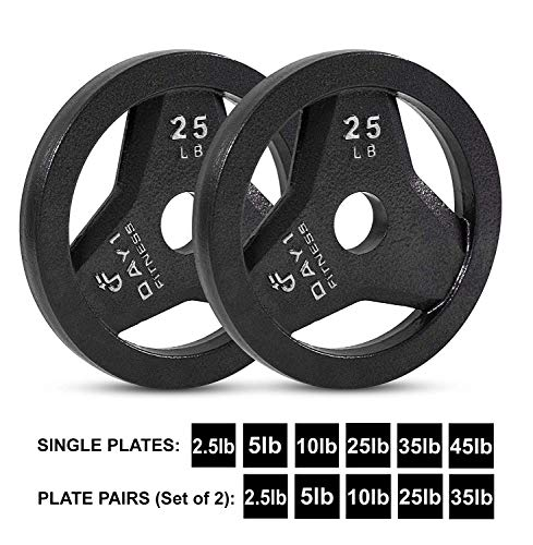 Day 1 Fitness Cast Iron Olympic 2-Inch Grip Plate for Barbell, 25 Pound Set of 2 Plates Iron Grip Plates for Weightlifting, Crossfit - 2