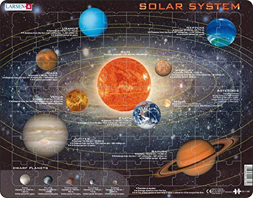 48 Piece Solar System - Larsen Puzzles Solar System Children's Educational Jigsaw Puzzle - 70 Piece Tray & Frame Style Puzzle - Exclusive Premium Hand Made Puzzles - Imported from Norway