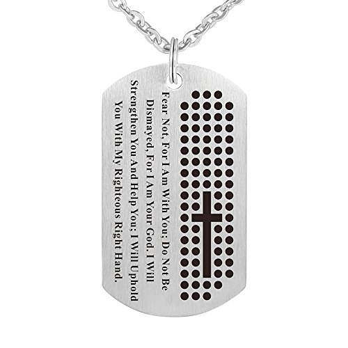 Religious Stainless Steel Lords Prayer Christian God Pendant Necklace Dog Tag Jewelry Keychain (A)