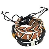 Indian Leather Rope Black and Brown Bracelet for Men - Layered Wrap Leather Bracelet for Men
