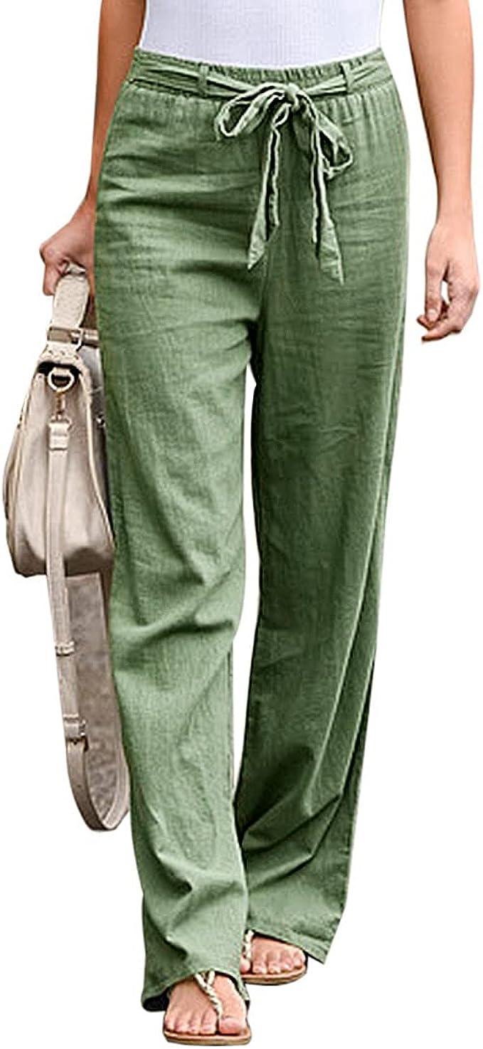 Damen Leinen Hose Stoffhose Lang Weites Bein Hosen Baggy Sommerhose Freizeithose