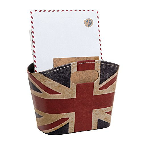 Union Jack Design Leatherette Storage Basket / Desktop Accessories Holder / Office Supplies (Leatherette Handle)