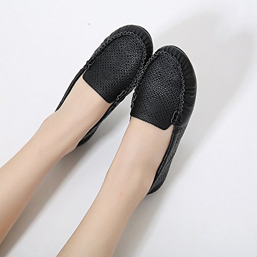 T-JULY Womens Casual Shoes Slip-Ons Perforated Flat Driving Loafers Round Toe Moccasin Black RB4fjY0rn