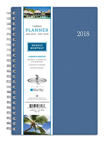"Blue Sky 2018 Weekly & Monthly Planner, Twin-Wire Binding, 5"" x 8"", Endless Summer - 103718"