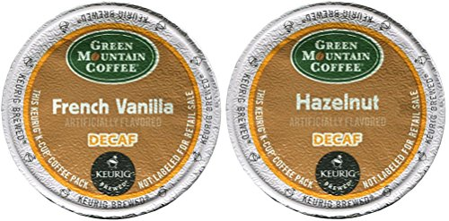 Green Mountain FRENCH VANILLA DECAF & HAZELNUT DECAF Flavored Variety Pack 48 K-Cups for Keurig Brewers