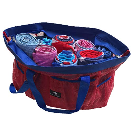 Red Suricata Large Mesh Beach Bag -Tote with Zippered Top | Toy Bag with Water Resistant Inside Pocket & 7 Large Elastic Outside Pockets | Lightweight Market, Grocery & Picnic Tote (Red/Blue) ()