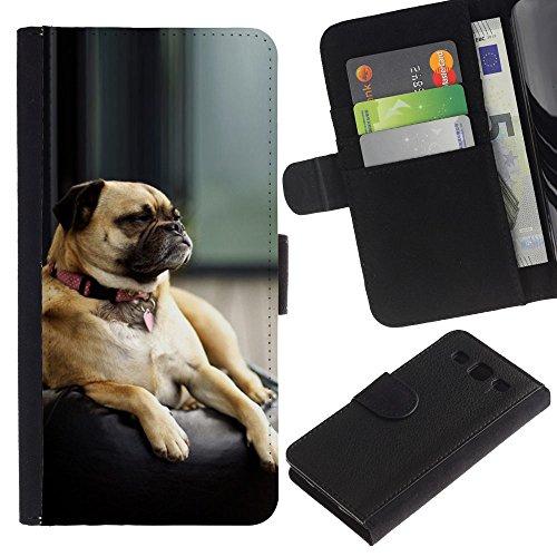 EuroCase - Samsung Galaxy S3 III I9300 - pug sleepy tired small dog shorthair - Cuero PU Delgado caso cubierta Shell Armor Funda Case Cover
