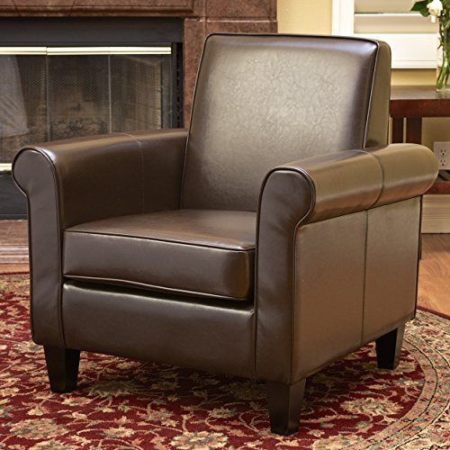 Christopher Knight Home 218704 Freemont Leather Club Chair, Chocolate Brown