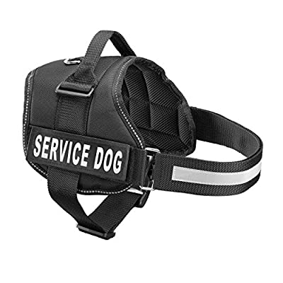 Service Dog Harness - Adjustable Dog Vest Harness with 2 reflective Velcro patches Large, Middle, Small Size (Black)