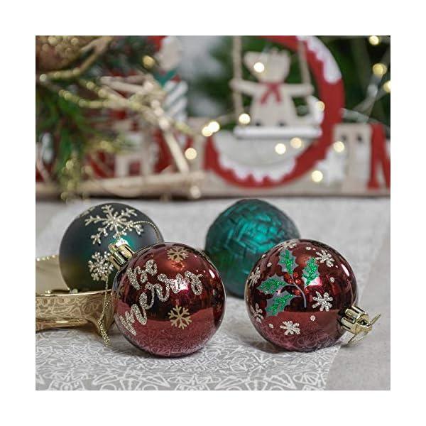 Valery Madelyn Palle di Natale 30 Pezzi 6cm Palline di Natale, Strada di Campagna Rosso Verde e Oro Infrangibile Ornamenti Palla di Natale Decorazione per la Decorazione Dell'Albero di Natale 6 spesavip