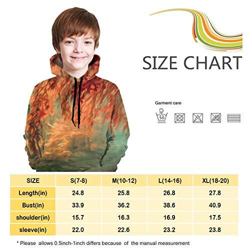 Kjiurhfyheuij 3D Print Teens Pullover Hoodies Autumn Trees Fleece Hooded Sweatshirt for Boys Girls