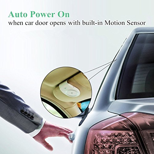 Bluetooth Car Kit Handsfree, Aigital Wireless Speakerphone Motion AUTO POWER ON Audio Receiver Sun Visor Speaker Music Player Adapter Built-in Mic with Car Charger - White