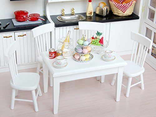 DierCosy 5pcs mini dining table and chair wooden furniture set 1:12 toy house white