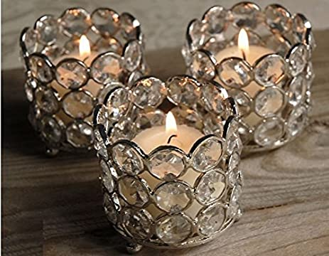 Amazon.com: Crystal Tealight & Votive Candle Holders Wedding Table ...