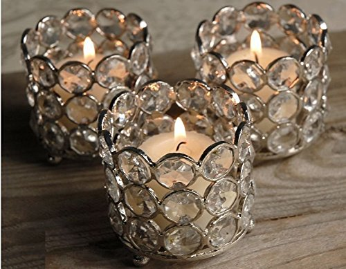Christmas Tablescape Decor - Round Crystal Votive Tea Light Candle Holders Set of 4