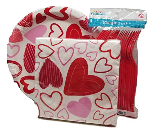 Valentine Spread Love Paper Plates,Napkins and Forks Party Pack - Hearts Party Pack Serves 24