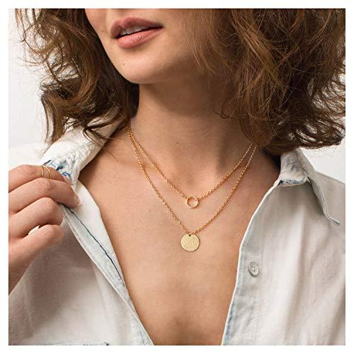 (Circle Disk Necklace 18K Gold Chain Choker Layered Karma Full Moon Dainty Minimalist Jewelry for Women)