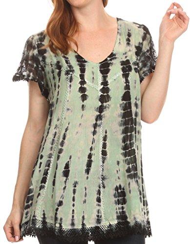 Sakkas 16776 - Spala Long Tie Dye Embroidered Cap Sleeve Drop V Neck Blouse Shirt Top - Mint - OSP
