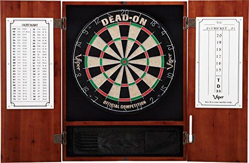 Viper Metropolitan Solid Wood Cabinet & Sisal/Bristle Dartboard Ready-to-Play Bundle: Deluxe Set (Dead On Dartboard and Darts), Cinnamon Finish