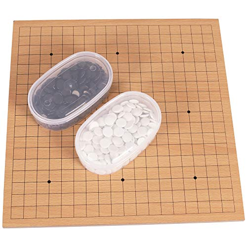 """Go Board Game, 14"""" x 14"""" Wooden Go Game with Plastic Pieces, Drawstring Bag"""