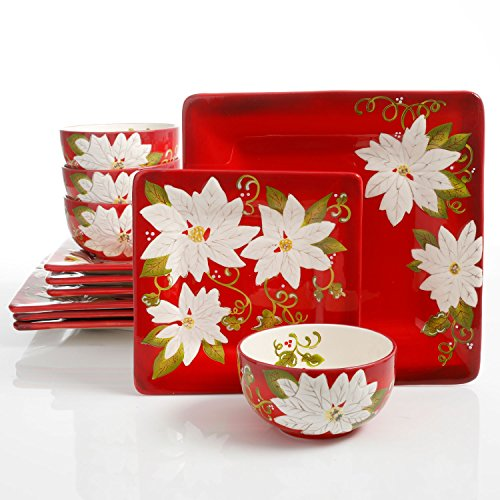 Laurie Gates Pleasant Poinsettia 12 Piece Dinnerware Set, Red (Christmas Dishes)