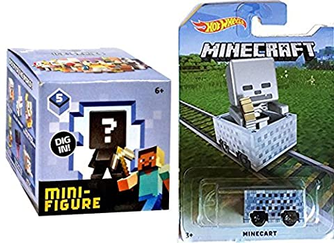 MineCart Hot Wheels Monster Character Exclusive with Minecraft Collectible Figure Mystery Blind Box series 5 Ice Minecraft Car HW Ride-Ons Compatible with Minecraft Character Mini figures ice series (Mini Mine Craft Characters)