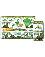 gimMe Organic Roasted Seaweed Sheets, Sea Salt, Keto, Vegan, Gluten Free, Great Source of Iodine and Omega 3's, Healthy On-The-Go Snack for Kids & Adults, #1 Sea Salt, 0.17 Ounce (Pack of 20)