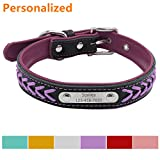 #7: LaReine™ Personalized Leather Dog Collar, Braided Soft Leather Name Plated Dog Collars for Small Medium Large, Custom Engraved On Collar Pet ID Tags for Cat and Dog [XS, S, M, L, XL] Purple