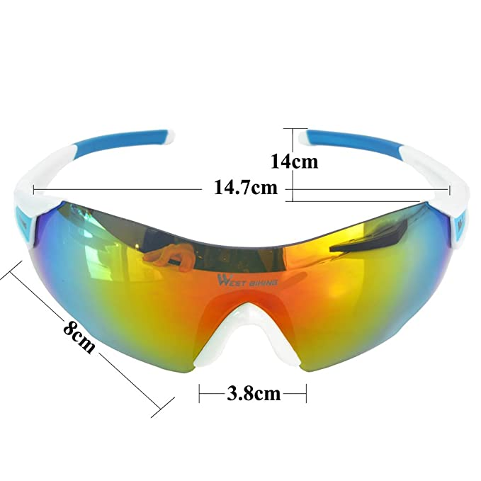 West - Gafas de sol de seguridad para bicicleta o moto, Unisex, resistentes al viento y rayos UV, para correr, de pesca y deportes al aire libre, ...