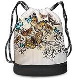 Unisex Drawstring Backpack Bag Beam Mouth Monarch Vintage Damask Sports Sackpack Rucksack Shoulder Bags