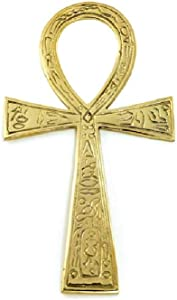 """CircuitOffice Brass Ankh with Carvings (3.5"""" x 6.5""""), for Ancient Egypt, Altars, Walls, Reiki, Metaphysical, New Age, Wicca, Healing, Vitality, Wholeness, Decoration or Gift"""