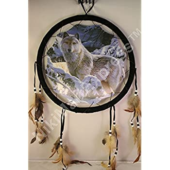 """3D A Wolf In Snow Dream Catcher w feathers wall hanging decoration ornament-28"""""""