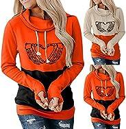 Halloween Hoodie for Women Skeleton Funny Long Sleeve Graphic Sweatshirts Plus Size Pullover Hoodie Pumpkin Co