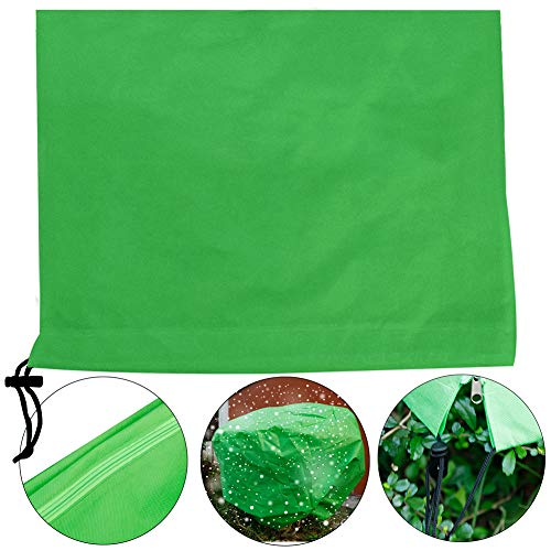 Pannow Plant Cover Warm Worth Frost Blanket,Drawstring Shrub Jacket, Rectangle Plant Cover for Season Extension&Frost Protection
