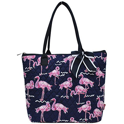 Ngil Quilted Cotton Medium Tote Bag 2018 Spring Collection (Pink Flamingo Navy Blue)