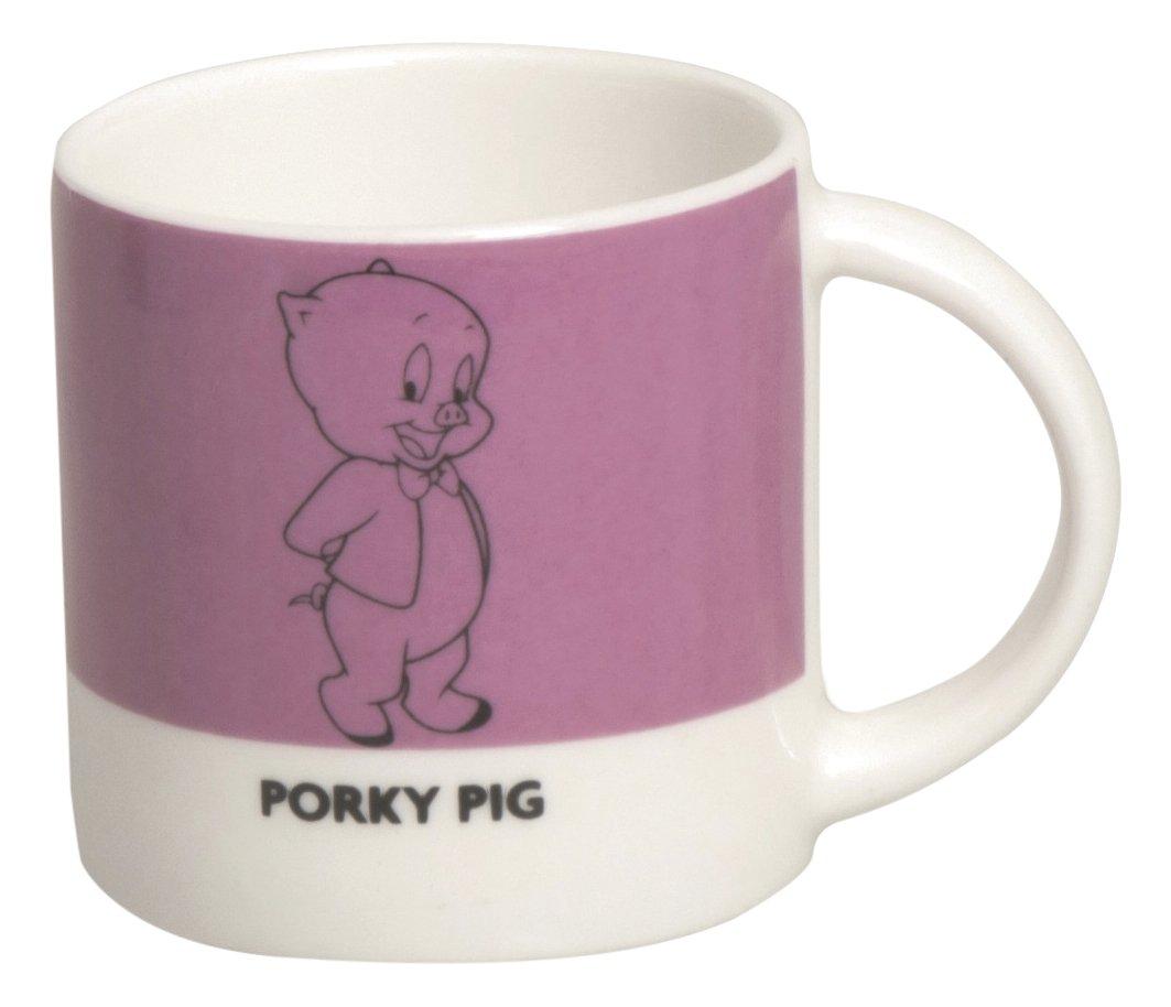 Excelsa Looney Tunes Taza Café Porky Pig 100ML, Porcelana, Rosa, 5.9x 5.9x 5.9cm Bergamaschi & Vimercati 49648