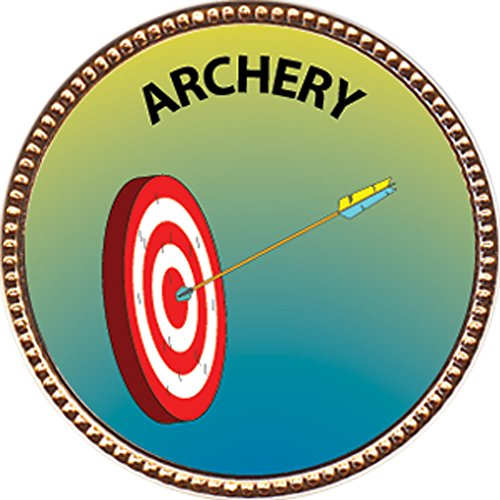 """Discount Archery Award, 1 inch dia Gold Pin """"Recreation Collection"""" by Keepsake Awards free shipping"""
