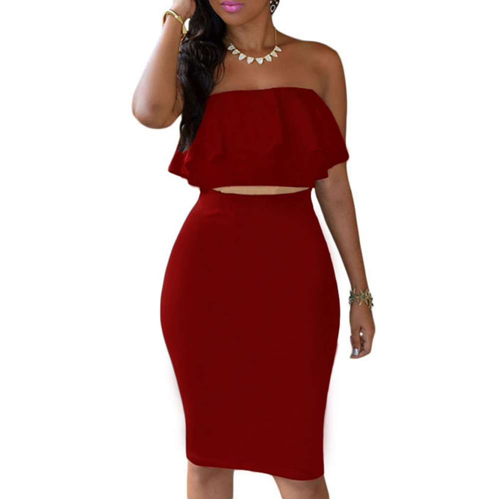 df1c74331d3 Amazon.com  Eiffel Women s Off Shoulder Ruffle Crop Top Pencil Skirt Dress  Two-Piece Set  Clothing
