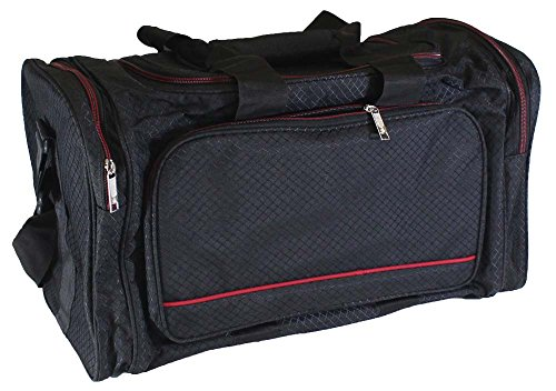 Black Zipper Bag With 4 Large Compartments And Fancy Diamond Pattern Fabric (ToolUSA: AB-44112)