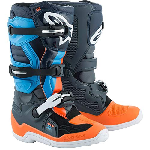 6 Off Road Mens Boots - Alpinestars Limited Edition Magneto Tech 7S Youth Boys Off-Road Motorycle Boots - Anthracite Gray/Orange Fluo/Cyan / 6