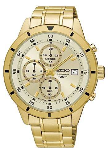 Seiko-SKS566-Mens-Gold-Tone-Stainless-Steel-Gold-Dial-Date-Chronograph-Sports-Watch