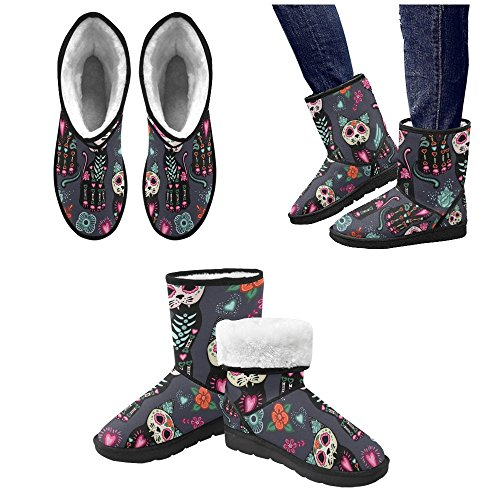 interestprint leinterest day of the dead halloween cats snow boots fashion shoes for women ppljms1vye
