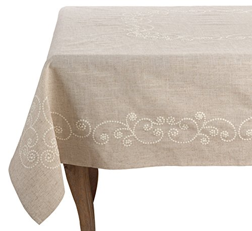 SARO LIFESTYLE Embroidered Swirl Design Linen Blend Tablecloth, 67