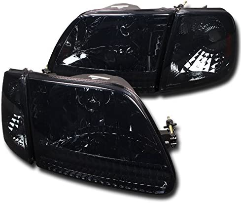 Fit 1997-2003 Ford F150 Expedition Black Smoked Headlights+Signal Corner Lights