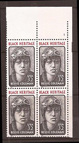 BESSIE COLEMAN ~ BLACK HERITAGE ~ AVIATOR ~ QUEEN BESS #2956 Plate Block of 4 x 32¢ US Postage Stamps