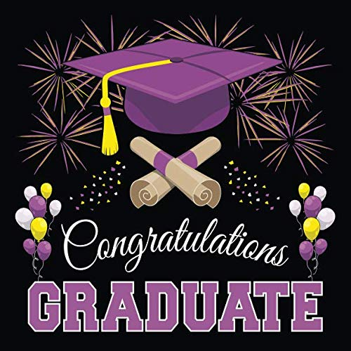 Graduation Guest Book: Congratulations Graduate GuestBook + Gift Log | Class of 2019 Graduation Party Memory Sign In Keepsake Journal | Black Purple -