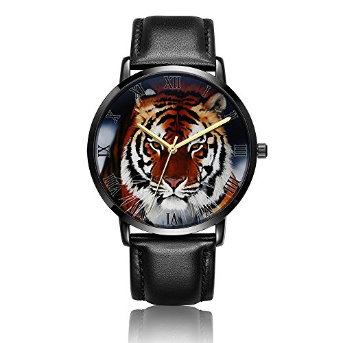 - Kusa Fashion South China Tiger Wrist Watch, South China Tiger Pattern Design PU Leather with Stainless Steel Wrist Watch For Women and Men