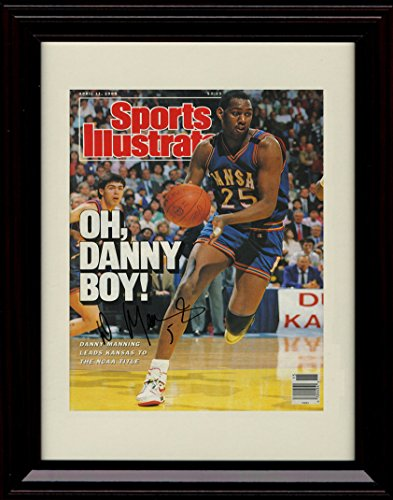 - Framed Danny Manning Sports Illustrated Autograph Replica Print - Kansas Jayhawks Champs!