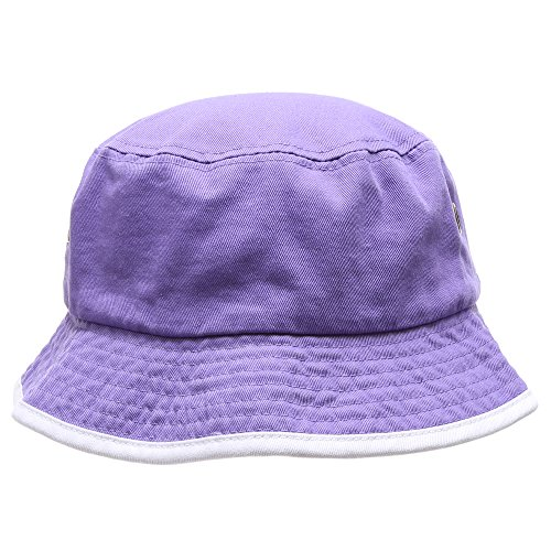 Lavender Stone - MIRMARU Summer Adventure Foldable 100% Cotton Stone-Washed Bucket hat with Trim.(Lavender-White-LXL)