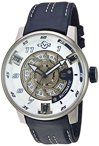GV2 by Gevril Men's 'Motorcycle Sport' Automatic Stainless Steel and Leather Casual Watch, Color:Blue (Model: 1301)